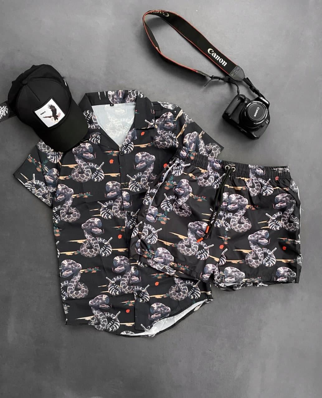 Кобра Мужской спортивный костюм/комплект черный с принтом лето. кофта  + шорты Турция