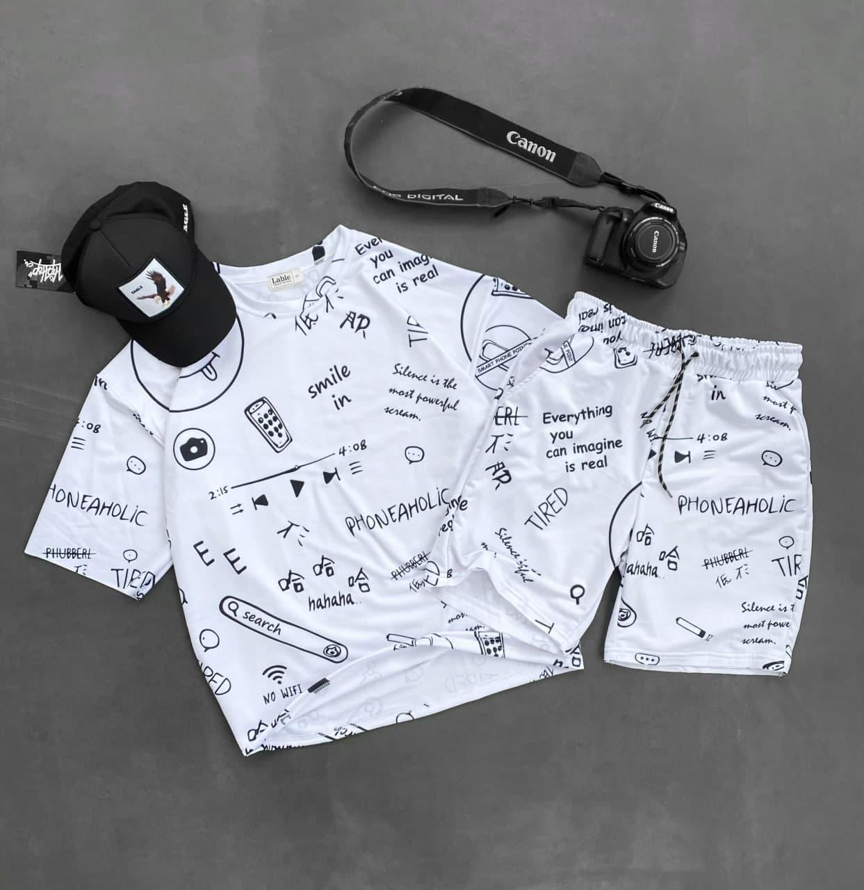 Мужской спортивный костюм/комплект белый с принтом лето. Футболка  + шорты Турция