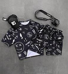 Мужской спортивный костюм/комплект черный с принтом лето. Футболка  + шорты Турция