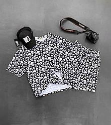 Черепа Мужской спортивный костюм/комплект черный с принтом лето. Футболка  + шорты Турция