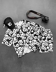 Панда Мужской спортивный костюм/комплект черный с принтом лето. Футболка  + шорты Турция