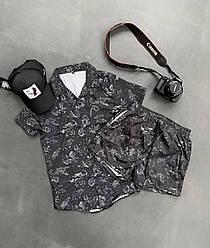Мужской спортивный костюм/комплект черный с принтом созвездие лето. Футболка на пуговицах  + шорты Турция