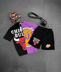 Chigago Bulls Мужской спортивный костюм/комплект черный с принтом лето. Футболка + шорты Турция