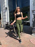 Женские стильные стрейчевые джинсы хаки