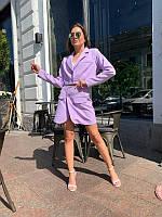 Женский костюм с укороченным пиджаком сирень