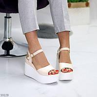 """Жіночі стильні босоніжки на платформі Бежеві """"Ute"""", фото 1"""