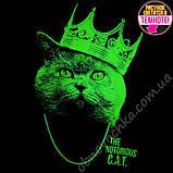 """Светящаяся футболка для подростков """"Кот с короной"""" черный рост 140-146, фото 2"""