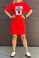 Женское яркое короткое платье туника