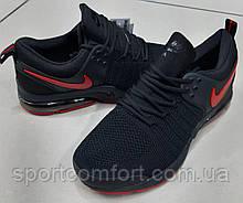 Чоловічі кросівки чорні з червоним Nike сітка