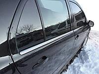 Skoda Fabia 2000-2007 гг. Наружняя окантовка стекол (4 шт, нерж) OmsaLine - Итальянская нержавейка
