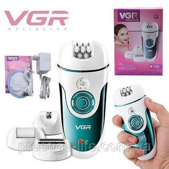 Эпилятор для ног и бикини VGR V-700 с 4 сменными насадками