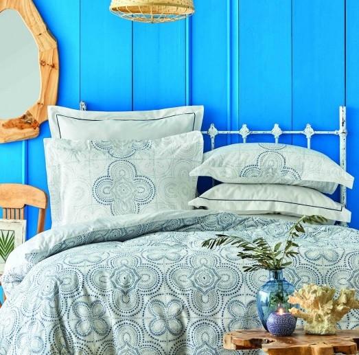 Постельное белье Karaca Home ранфорс - Anemos mavi 2020-2 голубой евро