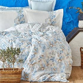 Постільна білизна Karaca Home ранфорс - Charlina mavi 2020-2 блакитний євро (4 наволочки)