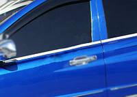 SsangYong Rexton II 2008↗ и 2013↗ гг. Наружняя окантовка стекол (4 шт, нерж) OmsaLine - Итальянская нержавейка