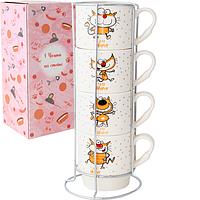 """Чашки на стойке """"Счастливые коты"""" набор 4 шт. (320 мл.)"""