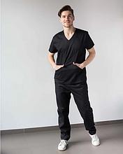 Медицинский костюм мужской Милан черный 46-56
