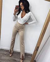Женские брюки с разрезам бежевый