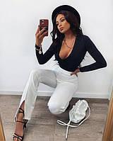 Женские брюки с разрезам белый
