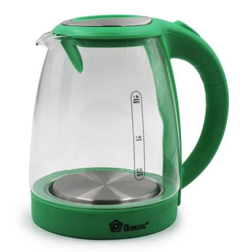 Чайник электрический зеленый с подсветкой Domotec №1305