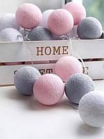Гирлянда из ниточных шариков «Нежные облака». 2 м. 20 шариков