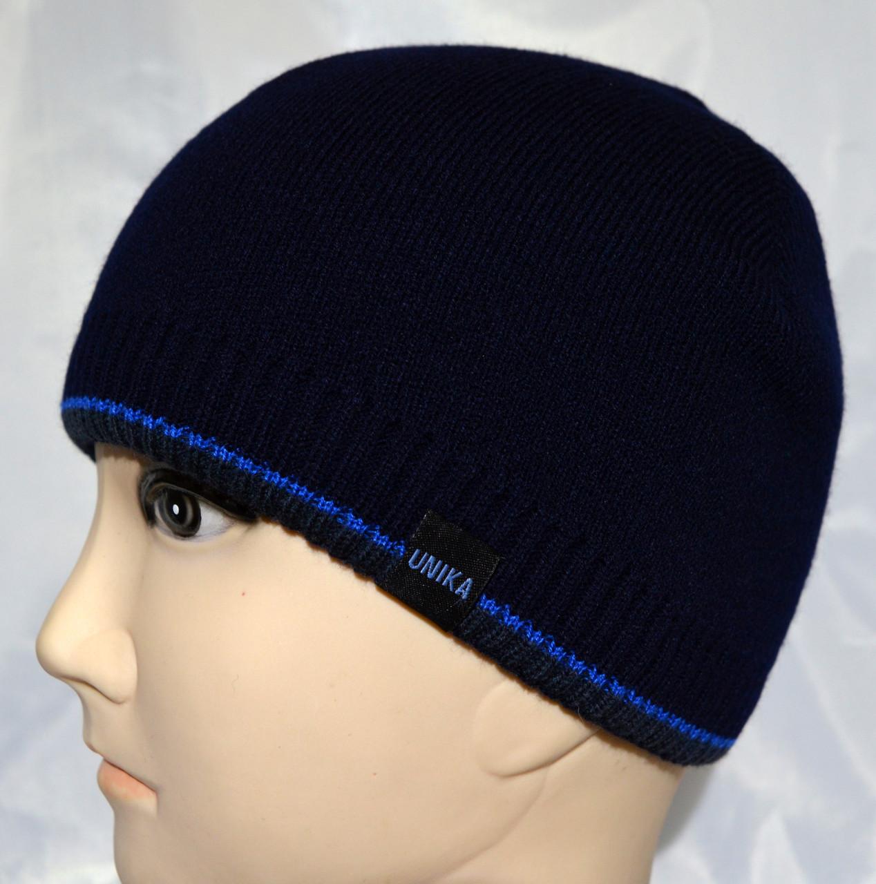 Подростковая вязаная шапка на флисе
