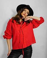 Женская летняя блузка на пуговицах красный