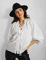 Женская летняя блузка на пуговицах белый