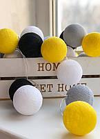 Тайская гирлянда из ниточных шариков «Яркое лето». 2 м. 20 шариков, фото 1