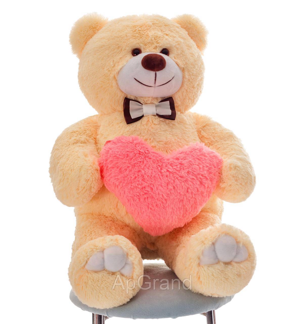 Плюшевий ведмедик із серцем Mister Medved Бэрти 110 см Бежевий