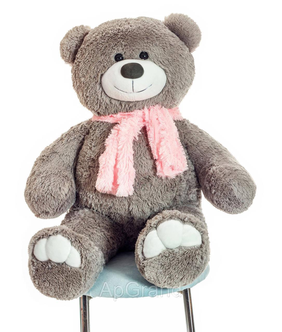 Плюшевый медведь Mister Medved с шарфиком Денни 110 см Серый