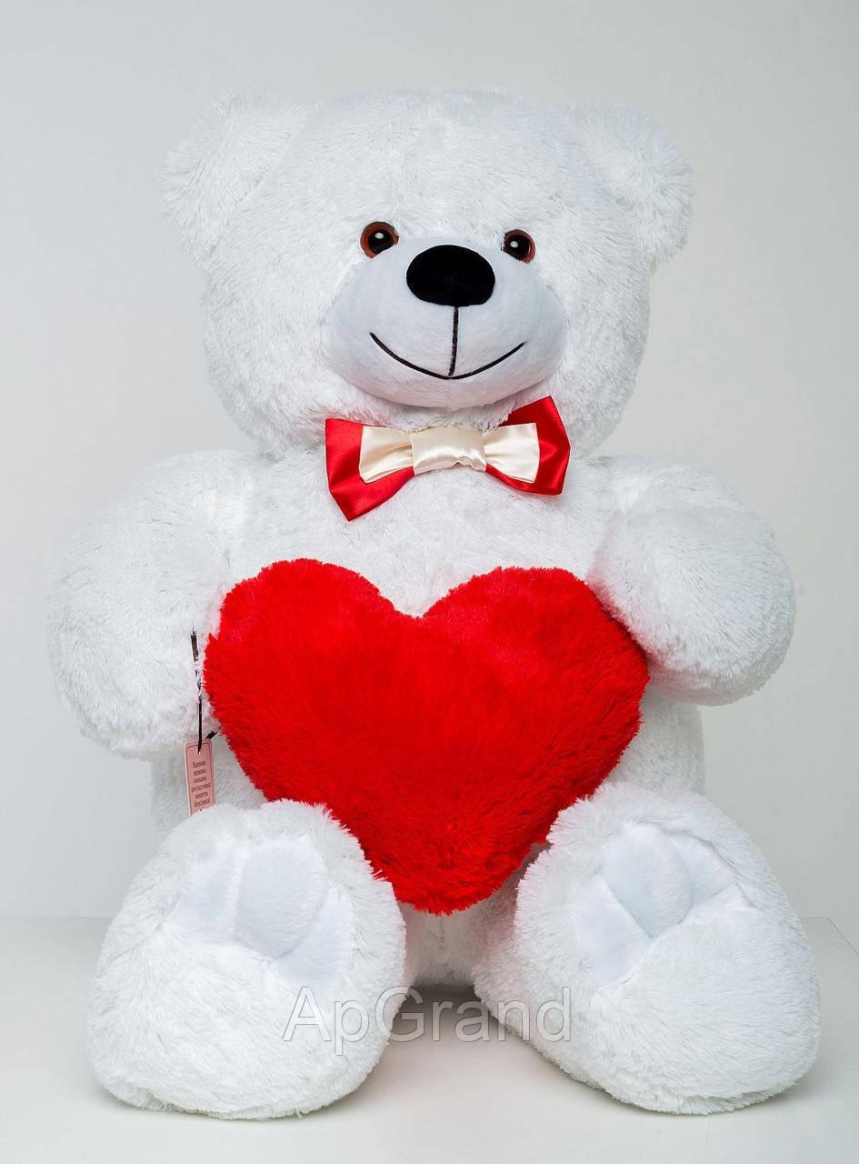 Плюшевий ведмедик із серцем Mister Medved Майк 85 см Білий