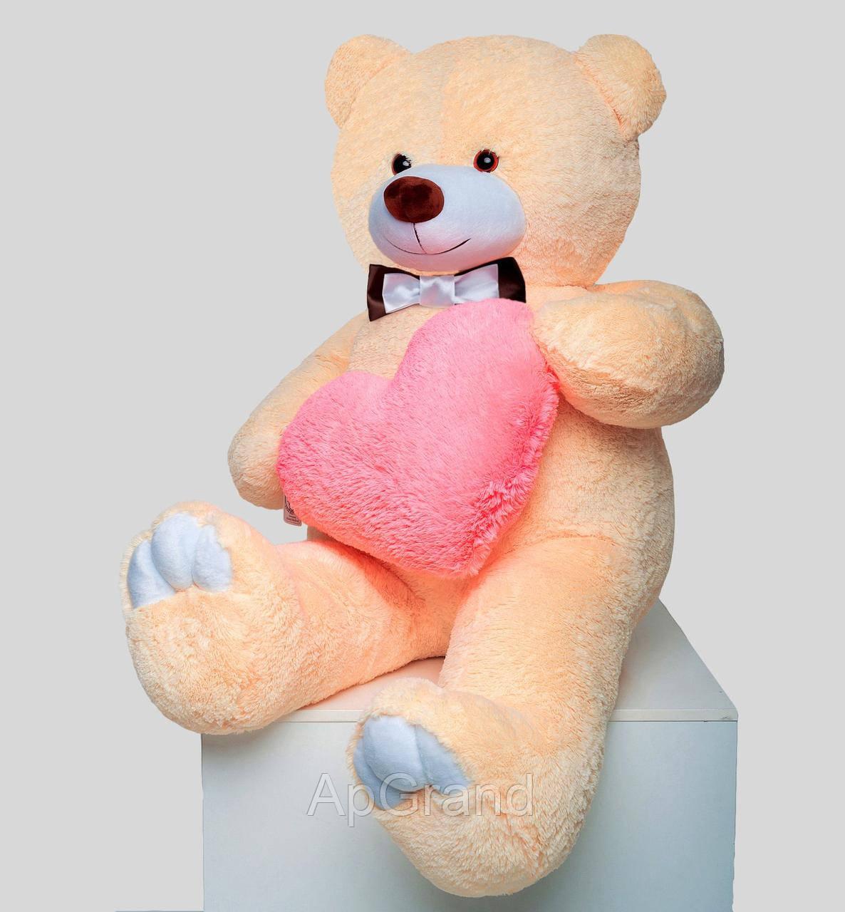 Плюшевий ведмедик із серцем Mister Medved Террі 160 см Бежевий