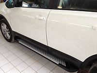 Nissan Qashqai 2010-2014 гг. Боковые пороги Allmond Grey (2 шт, алюм) Короткая база