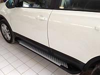 Nissan Qashqai 2010-2014 гг. Боковые пороги Allmond Grey (2 шт, алюм) Длинная база