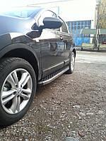 Nissan Qashqai 2010-2014 гг. Боковые пороги BlackLine (2 шт, алюминий) Длинная база