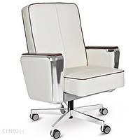 Unique Fotel gabinetowy Regent Low biały skóra naturalna