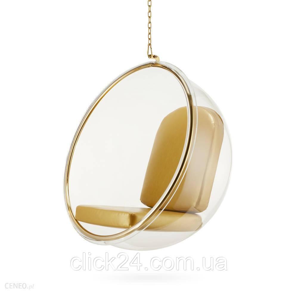 Fotel Monopoli Bańka Wiszący Złoty Inspirowany Bubble Chair