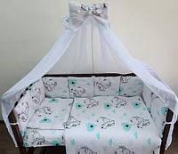 Набор детского постельного белья 10 предметов, бортики подушки, держатель для балдахина