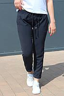 Брюки женские лён жатка стрейчевые на лето темно синие / укороченные молодежные брюки капри