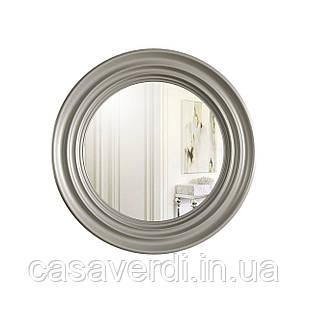 Круглое интерьерное настенное зеркало Casa Verdi Rondo 75см. С Рамой МДФ, размер зеркала  55 см серебро.