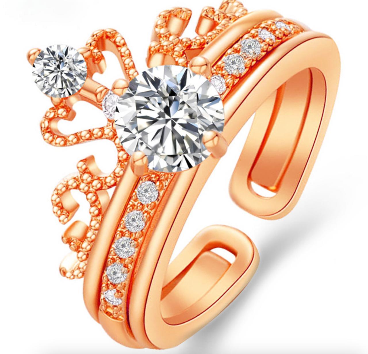 Кільце Жіноче City-A колір Золота Корона з Цирконієм 2 в 1 Регульоване Безрозмірне №3199