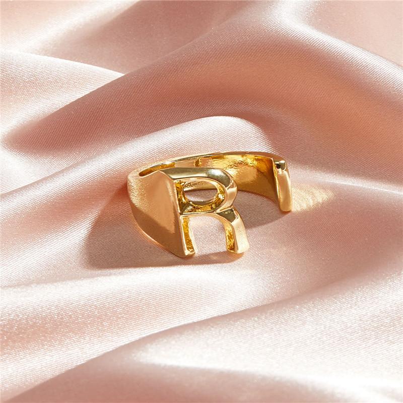 Кільце Жіноче City-A колір Золоте у вигляді Літери R Регульоване Безрозмірне Буква Алфавіту №3217