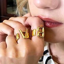Кільце Жіноче City-A колір Золоте у вигляді Літери R Регульоване Безрозмірне Буква Алфавіту №3217, фото 3