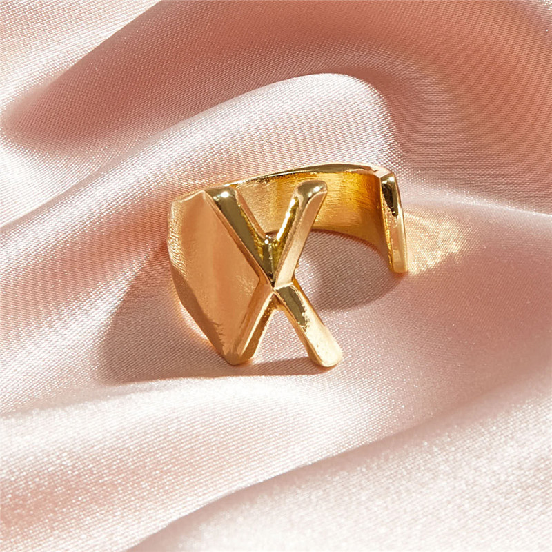 Кільце Жіноче City-A колір Золоте у вигляді Букви X Регульоване Безрозмірне Буква Алфавіту №3221