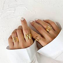 Кільце Жіноче City-A колір Золоте у вигляді Букви X Регульоване Безрозмірне Буква Алфавіту №3221, фото 2