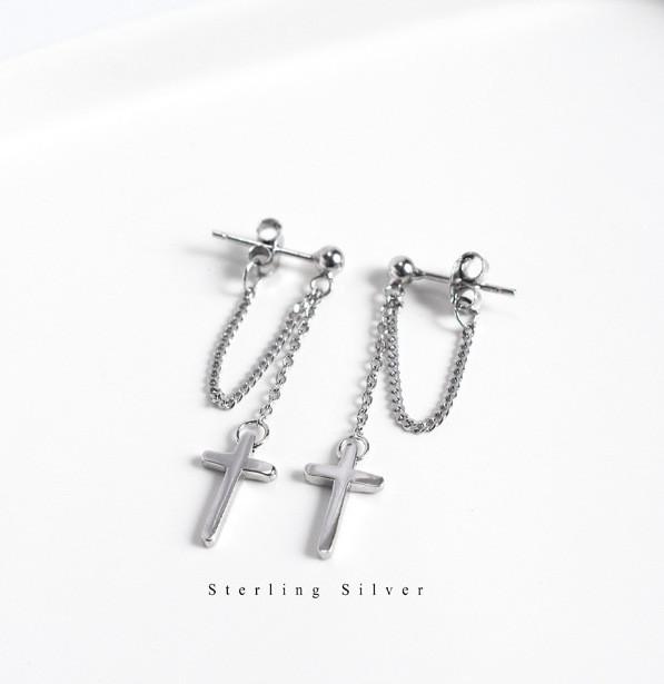 Серебряные Серьги City-A с Крестом Cross Христианские с цепочкой №3228