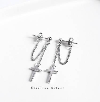 Серебряные Серьги City-A с Крестом Cross Христианские с цепочкой №3228, фото 2