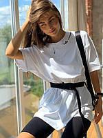 Комплект: футболка вільного крою з велосипедками з якісного трикотажу, розміри: S (42-44), М(44-46)