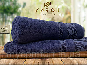 Банное полотенце махровое 70х140. VAROL (100% OGANIC BAMBOO). Синий