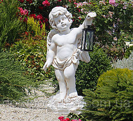 Садовая Парковая  фигура Ангел с фонарем + LED 81х38х26 см цвет Крем
